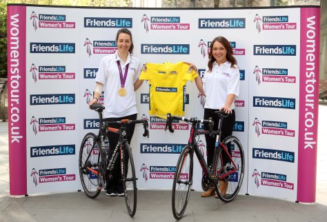 Dani King (L) and Lucy Garner with the Women's Tour leader's jersey.