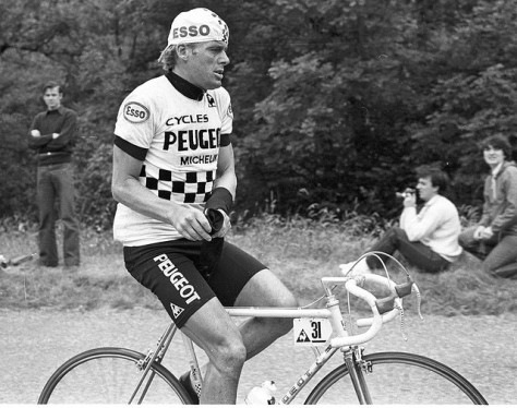 Hennie Kuiper rides for Peugeot at the 1980 Tour de France.